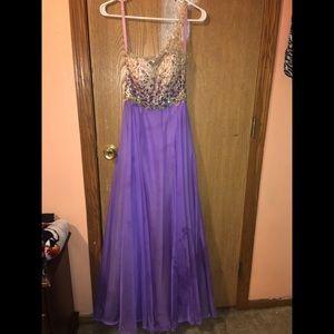 Size 4 Purple prom dress with rhinestones.